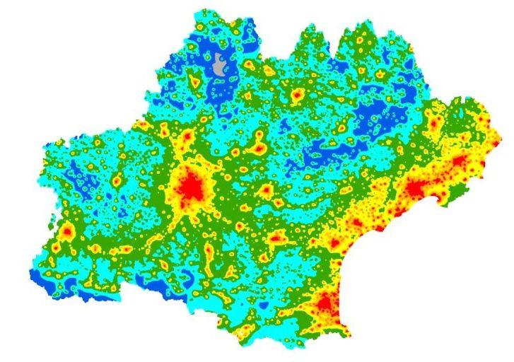 1ère cartographie régionale de pollution lumineuse